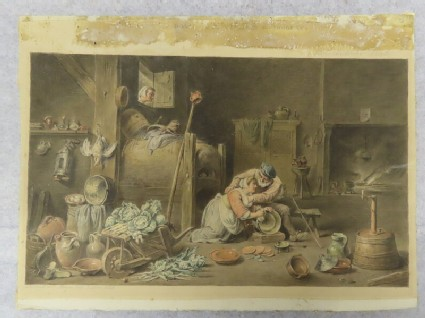 Interior with an old man and a kitchen maid