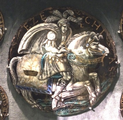 Roundel with Ezechias (Hezekiah) dressed like a soldier, riding a horse