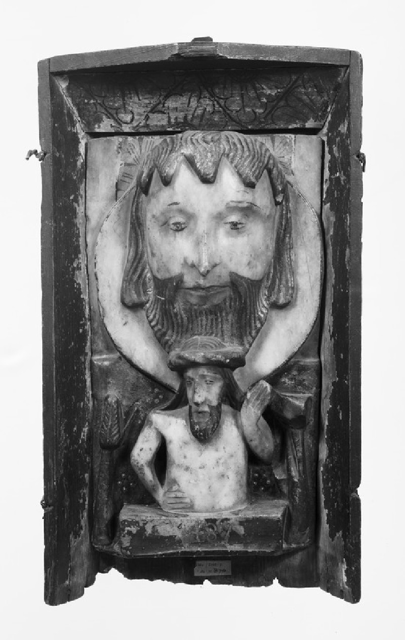 Alabaster panel representing the head of St. John the Baptist