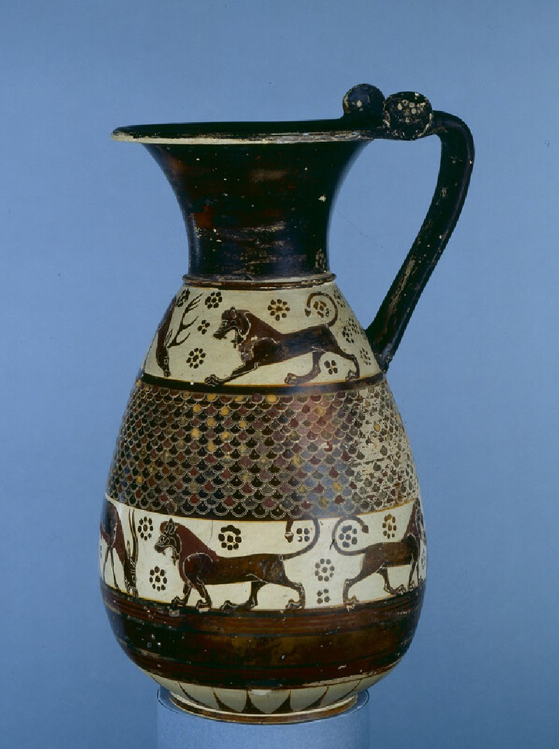 Corinthian olpe (jug) decorated with painted animal frieze and scale pattern