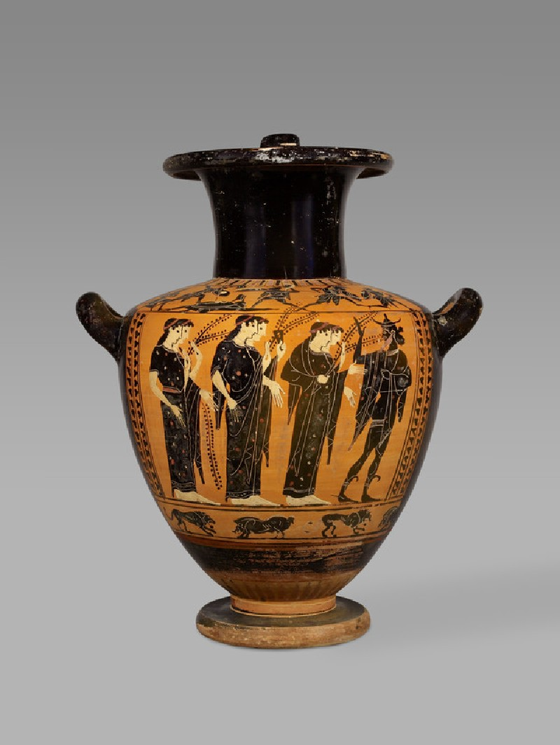Attic black-figure pottery hydria depicting a mythological scene