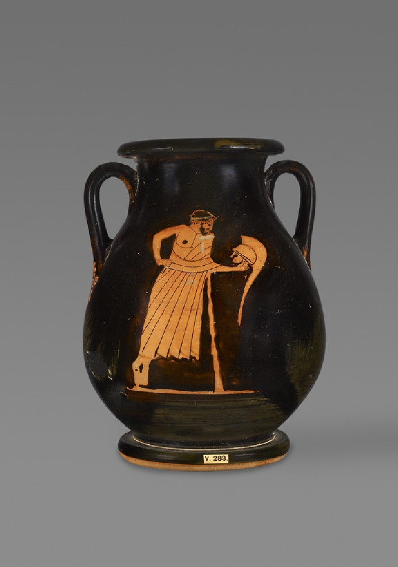 Attic red-figure pottery pelike depicting an elderly male figure and a bearded satyr (AN1884.714)