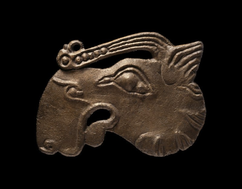 Bronze plaque in the shape of an elk's head