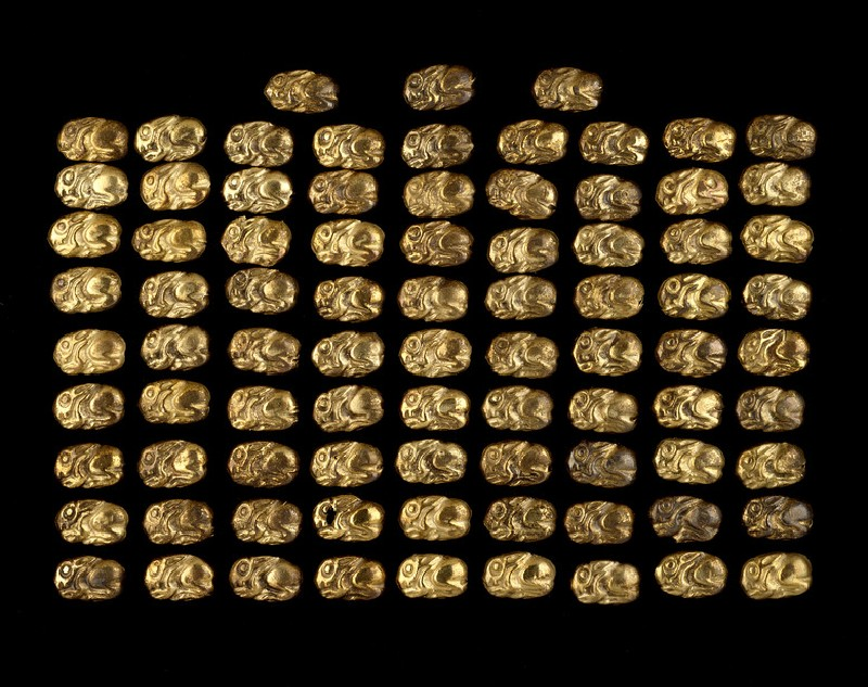 84 gold appliqués in the shape of hares, originally decoration of a woman's dress