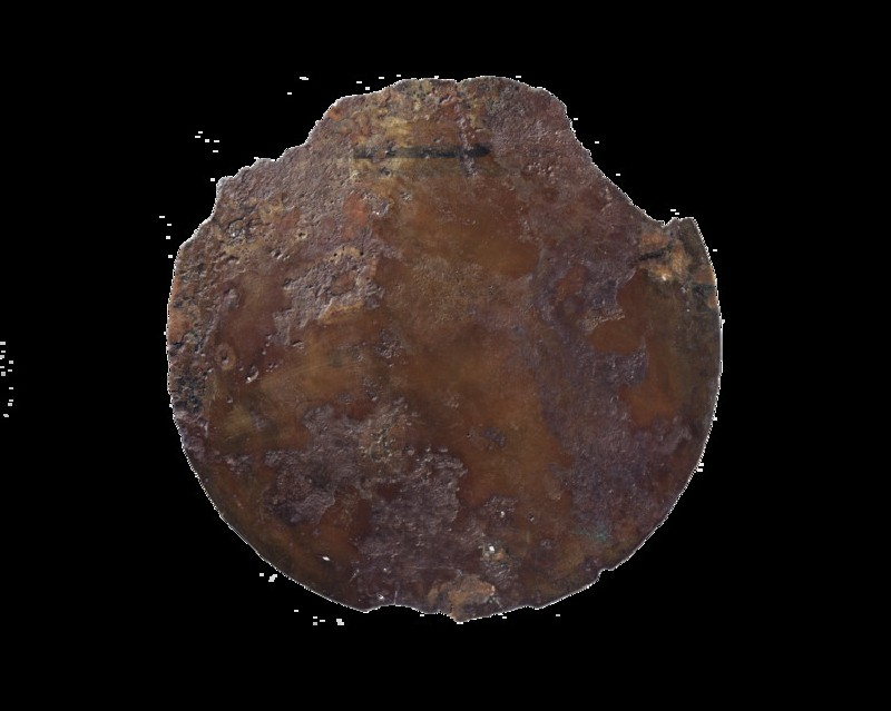 Bronze mirror disc with missing handle (probably wood, bone or ivory) (AN1885.470.b)