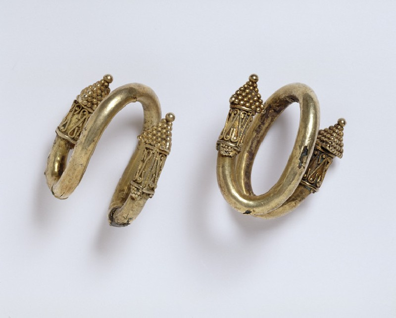 Pair of electrum and bronze ear-rings with granulated decoration (AN1885.483)