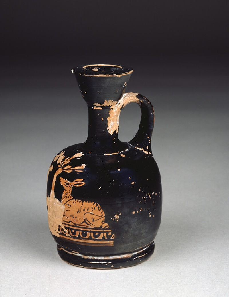 Attic red-figure pottery lekythos depicting fawns (AN1885.500)