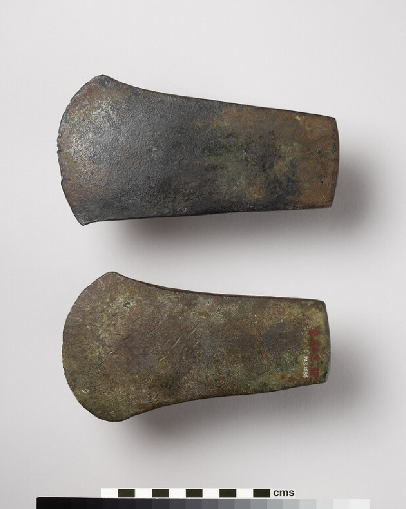 Copper flat axe, with broad straight butt and sides