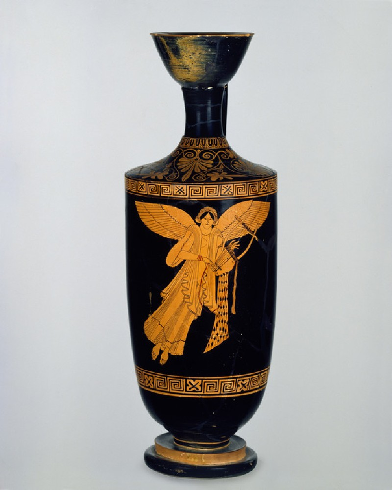 Attic red-figure pottery lekythos depicting a mythological scene (AN1888.1401)