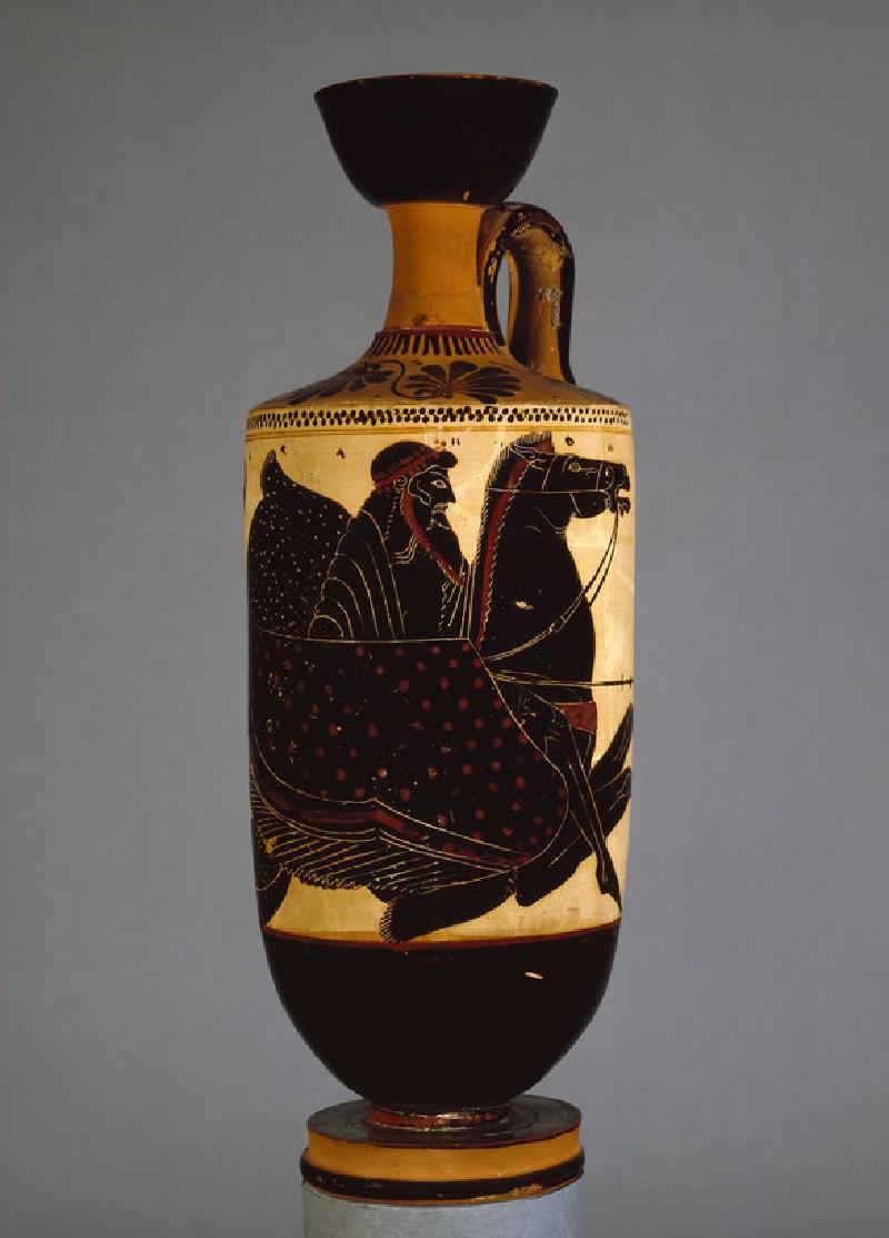 Attic black-figure white ground pottery lekythos depicting a mythological scene (AN1889.1011)