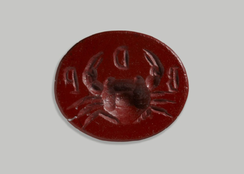 Jasper intaglio of crab with inscription B D P (AN1890.247)