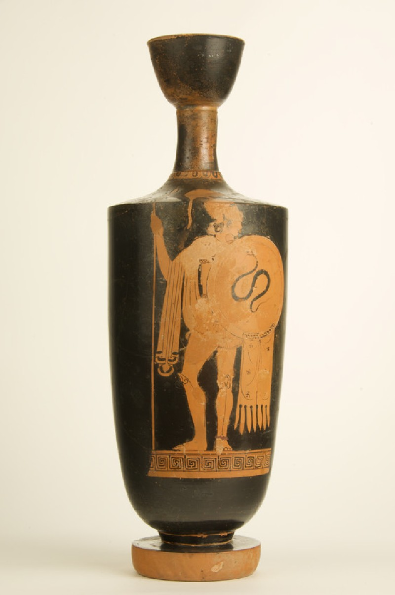 Attic red-figure pottery lekythos depicting an armed warrior