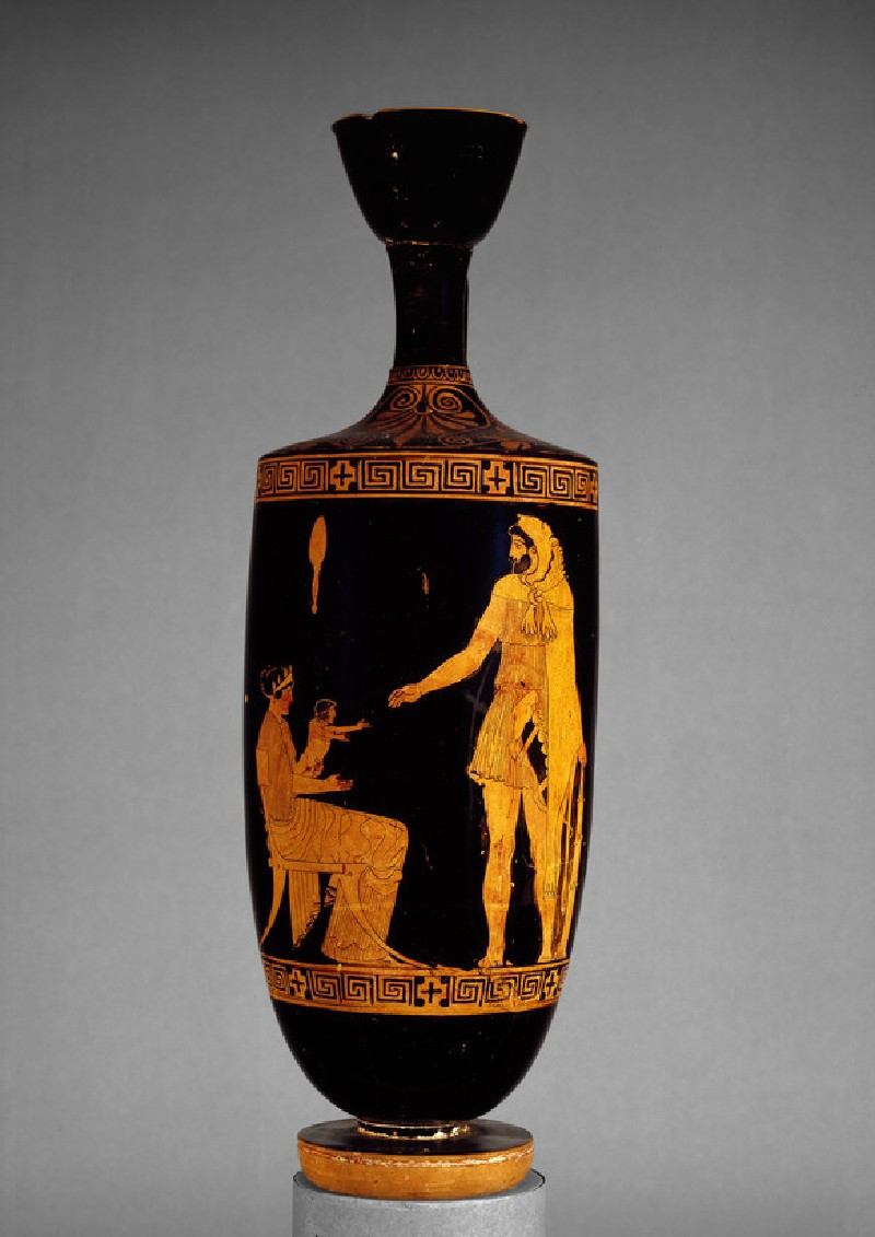 Attic red-figure pottery lekythos depicting a mythological scene (AN1890.26)