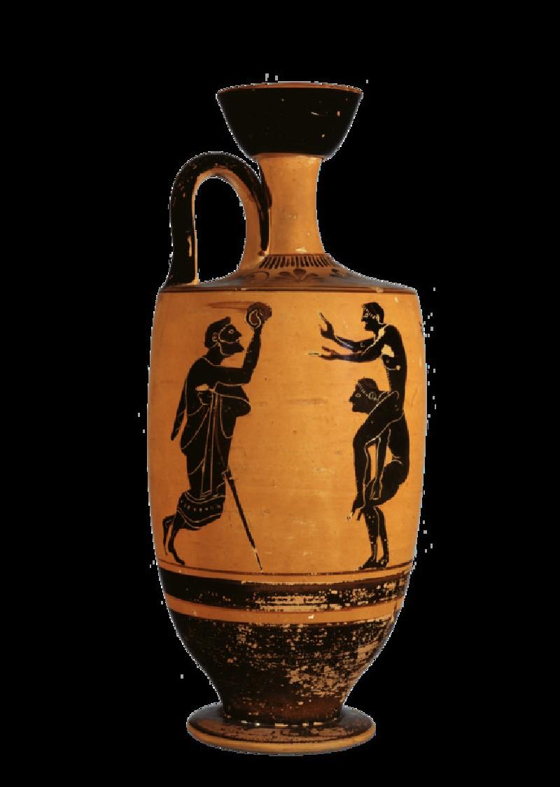 Attic black-figure pottery lekythos depicting an athletics scene (AN1890.27)