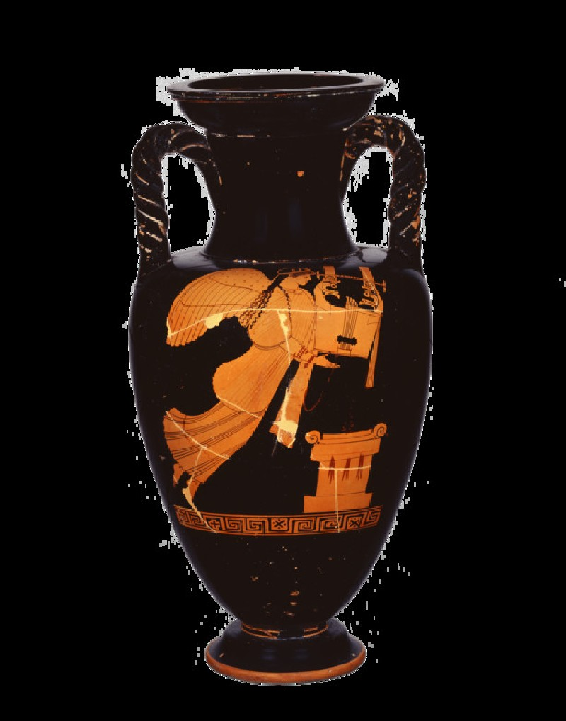Attic red-figure amphora depicting a mythological figure