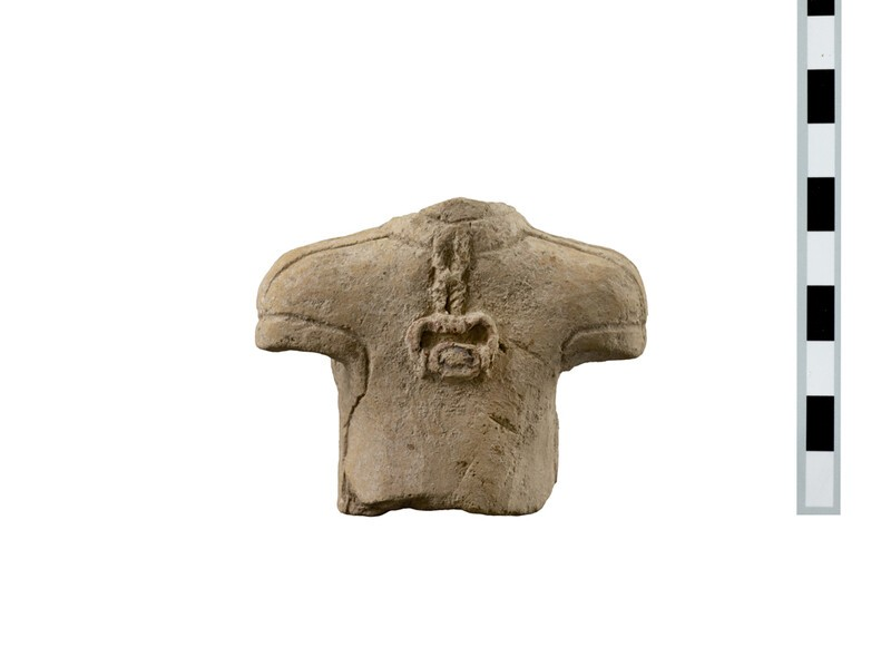 Torso of a fragmentary terracotta votary figure wearing a pendant (seal in claw setting) (AN1891.474)