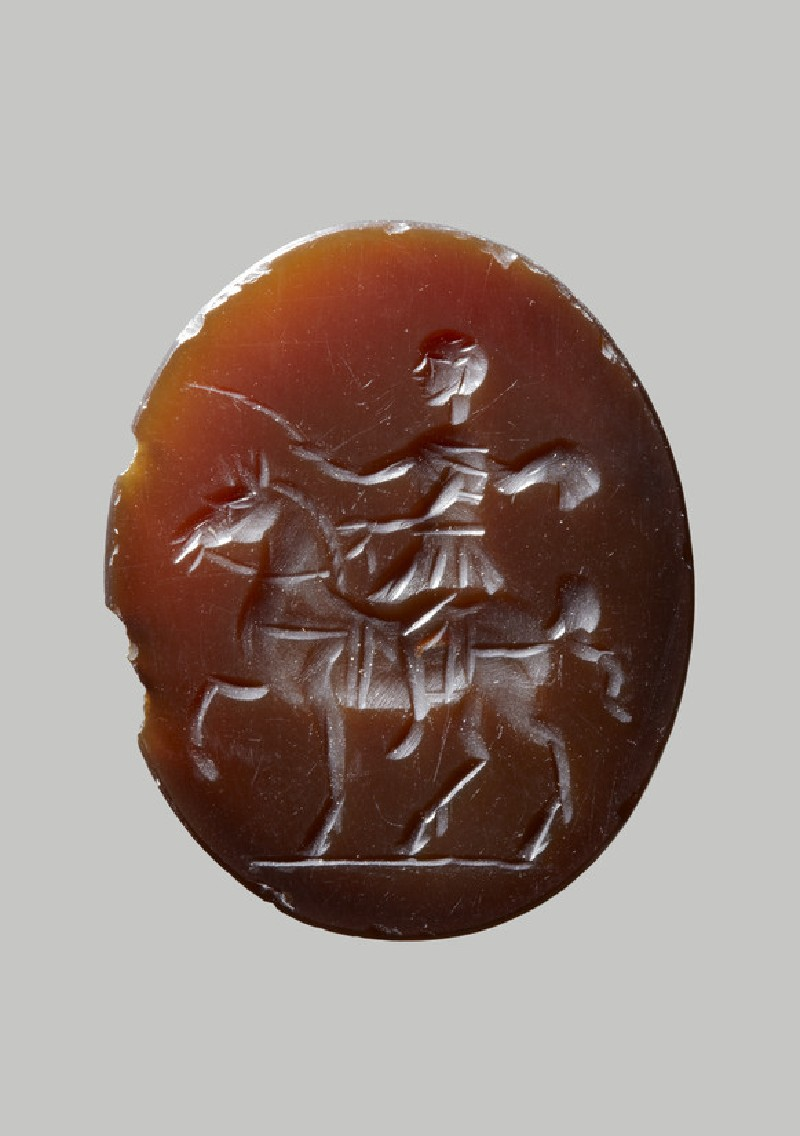 Sardonyx engraved gem with emperor on horseback and palm of victory (AN1892.1461)