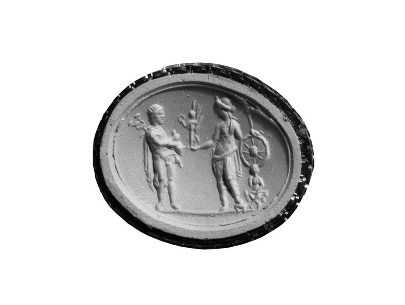Intaglio gem, Ares and Tyche (AN1892.1585)
