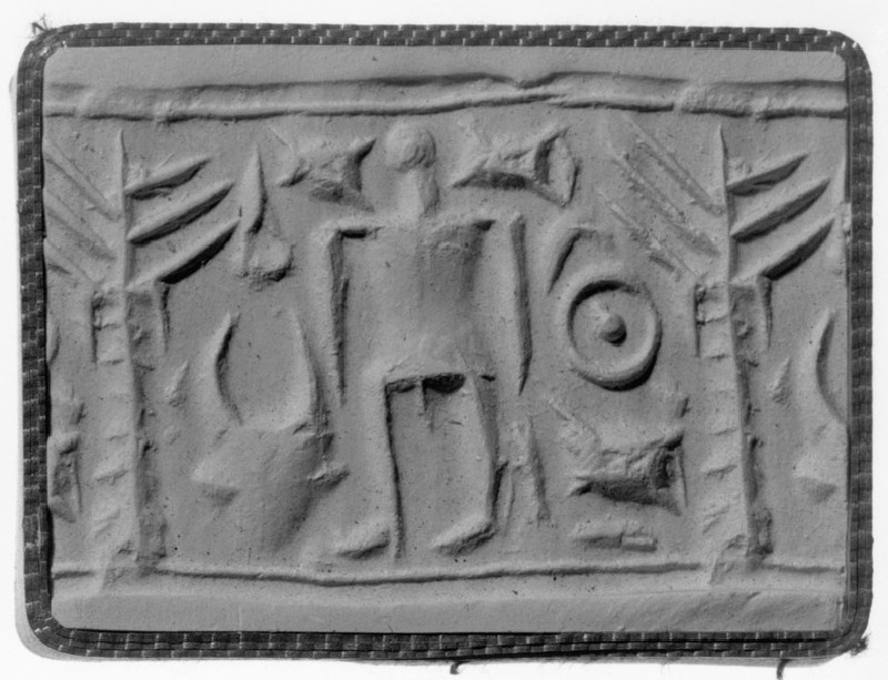 Cylinder seal, human figure with ingot, tree, bucranium (AN1895.82)