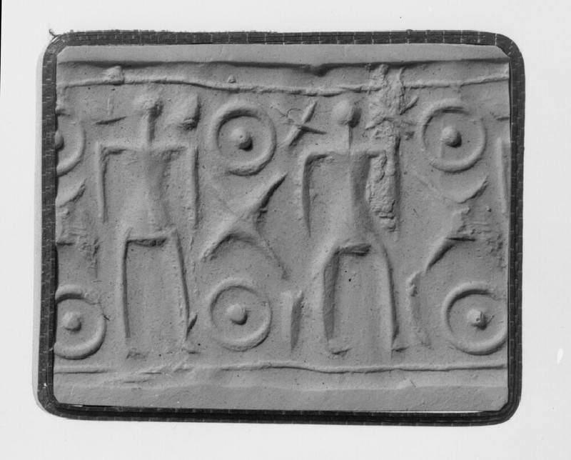 Cylinder seal, two human figures, crosses beside head of first, strokes beside legs, curves beside head of second
