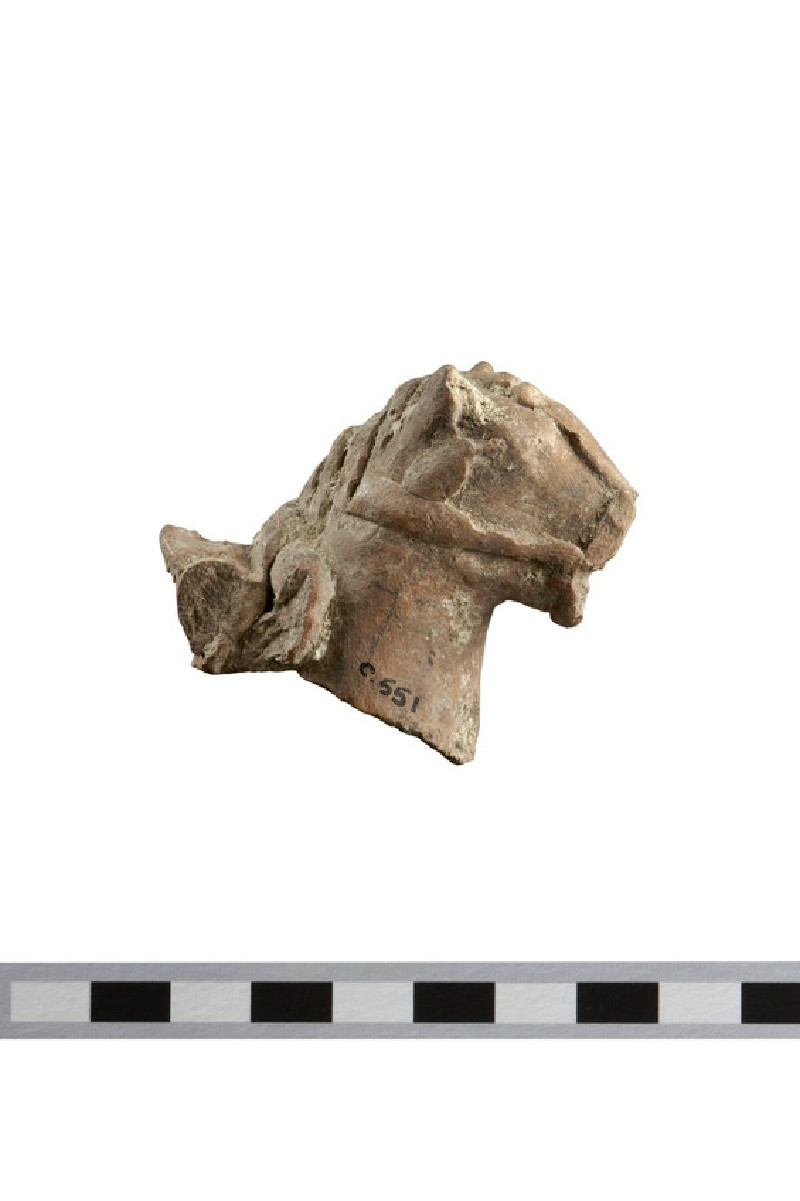 Horse head and neck with harness, fragment of chariot group or a horse-and-rider figurine