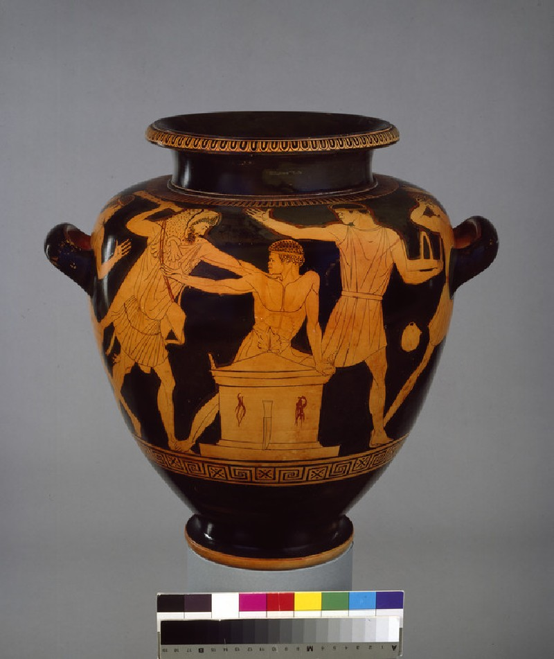 Attic red-figure pottery stamnos depicting a mythological scene (AN1896-1908.G.270)