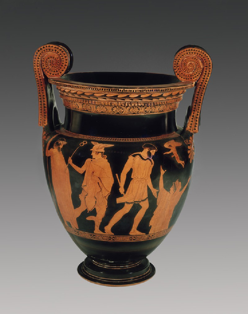 Attic red-figure pottery krater depicting a mythological scene (AN1896-1908.G.275)