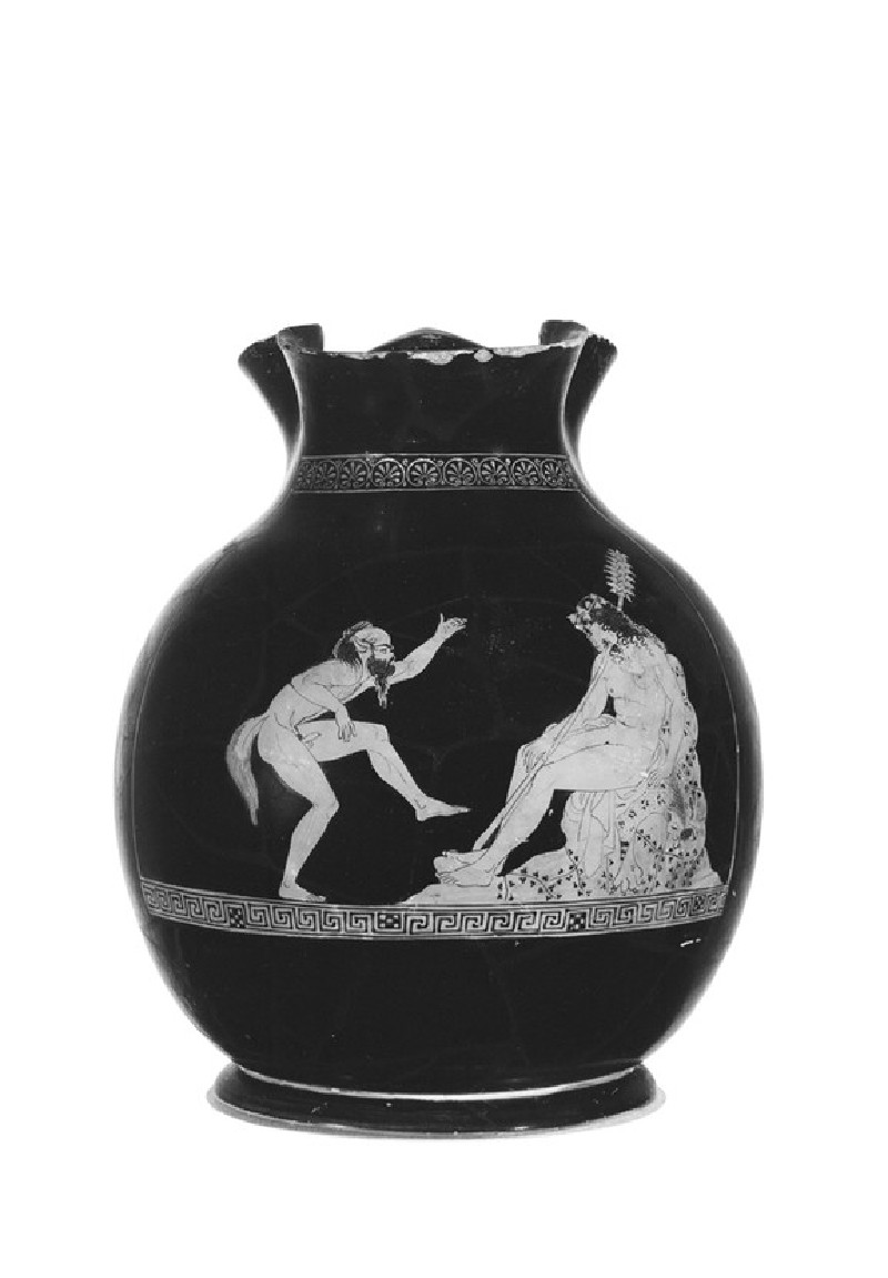 Attic red-figure pottery chous depicting a Dionysiac scene