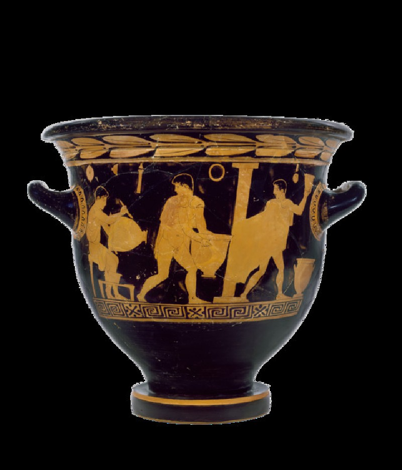 Attic red-figure pottery bell-krater depicting a scene of daily life (AN1896-1908.G.287)