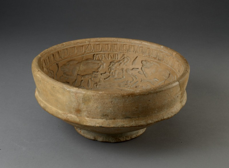Mould for Samian ware bowl with hunting scenes