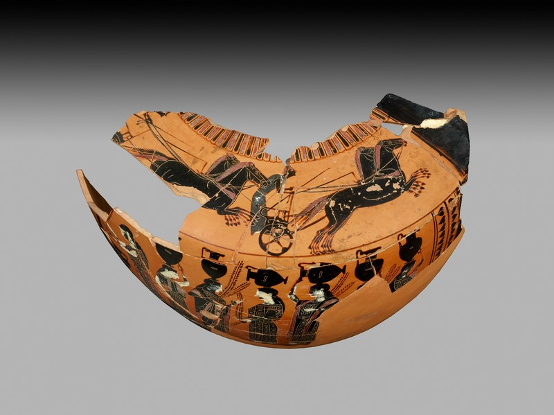 Attic black-figure pottery hydria fragment
