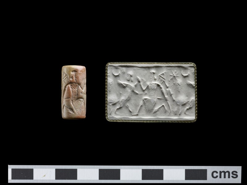Cylinder seal, erect sphinx with head turned back in grasp of hero on one knee with tasselled quiver on back, dagger at waist