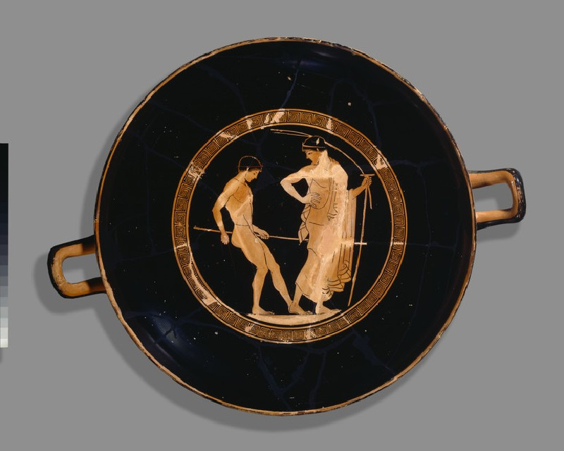 Attic red-figure stemmed pottery cup depicting an athletics scene (AN1914.729)