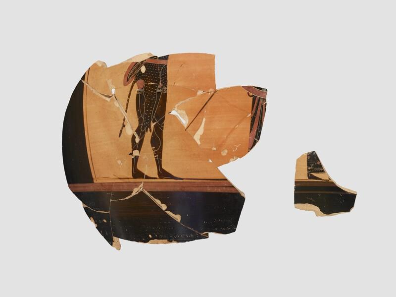 Attic black-figure pottery belly-amphora fragment depicting a mythological scene