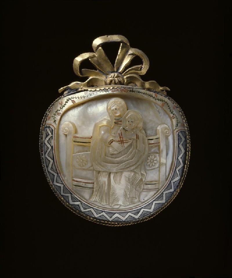 Carved pearl shell pilgrim souvenir
