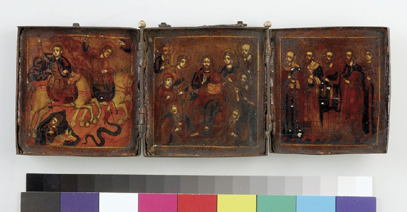 Icon triptych: extended Deesis with military and other Saints