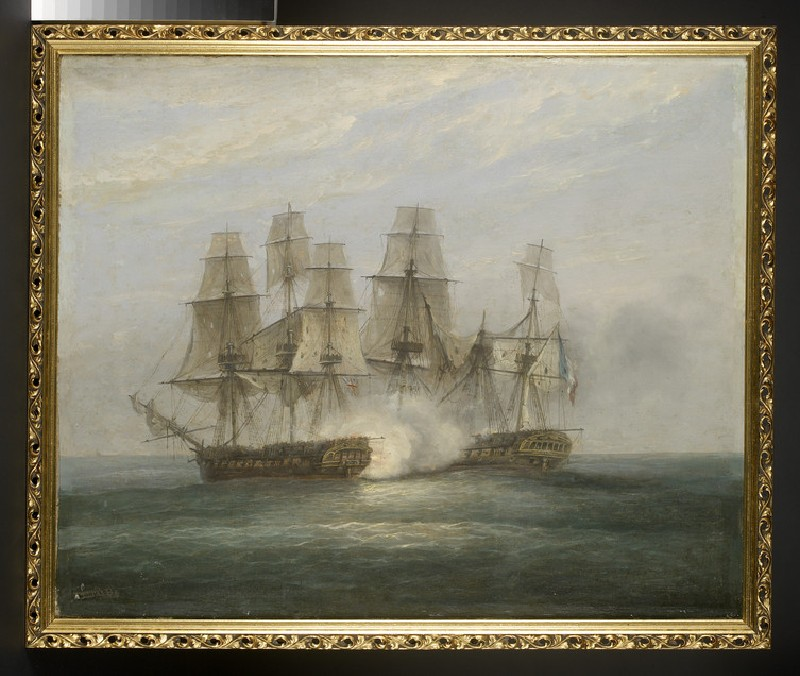 Oil painting of the engagement between H.M.S. Phoenix and the French Frigate Didon, 10 August 1805 (AN1916.23)