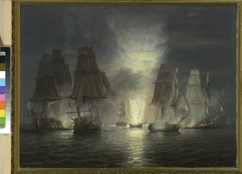 Oil painting of the engagment of H.M.S. Victorious and the French gun ship Rivoli, 22 February 1812