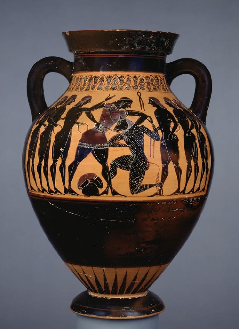 Attic black-figure pottery amphora depicting a mythological scene (AN1918.64)
