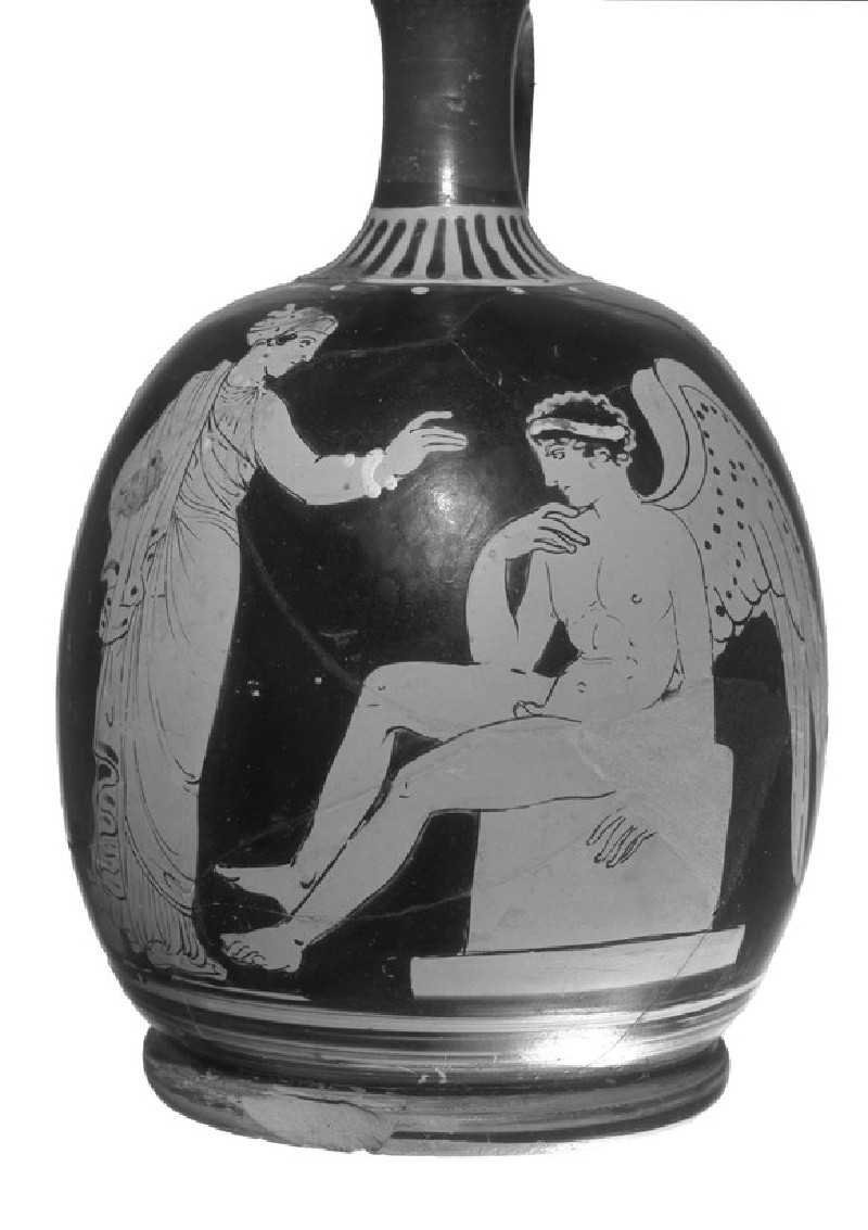 Lucanian red-figure lekythos, Eros and draped standing lady