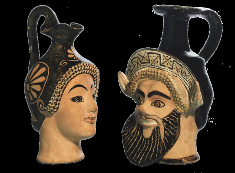 Attic red-figure pottery head vase