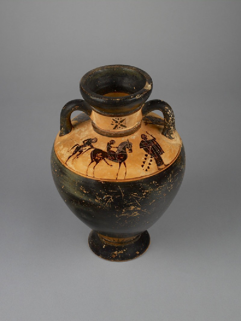 Attic black-figure pottery amphora depicting a mythological scene (AN1920.107)