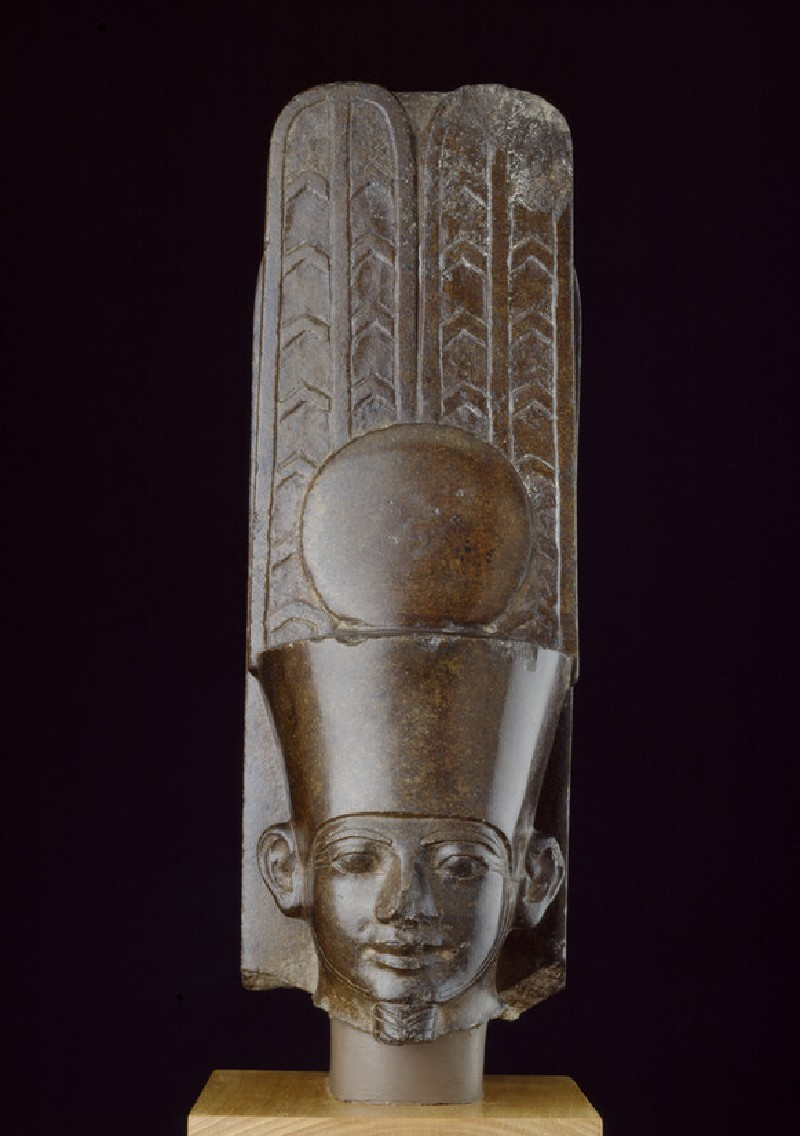 Quartzite head of Amun inscribed on the back pillar with the Horus name of Tanewatamani (AN1922.157)
