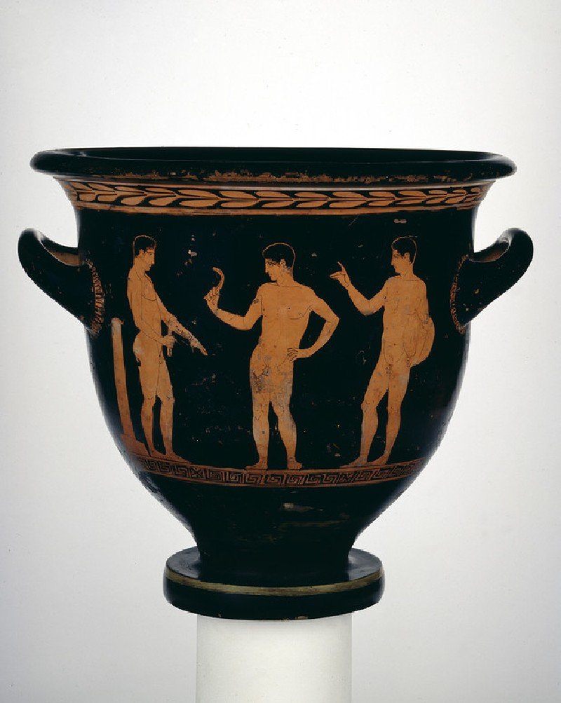 Attic red-figure pottery krater depicting an athletics scene (AN1922.8)