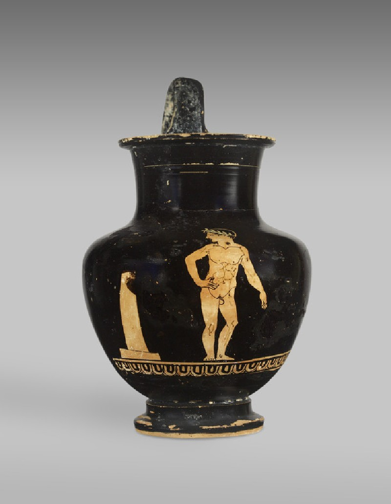 Attic red-figure pottery jug depicting an athletics scene (AN1923.395)