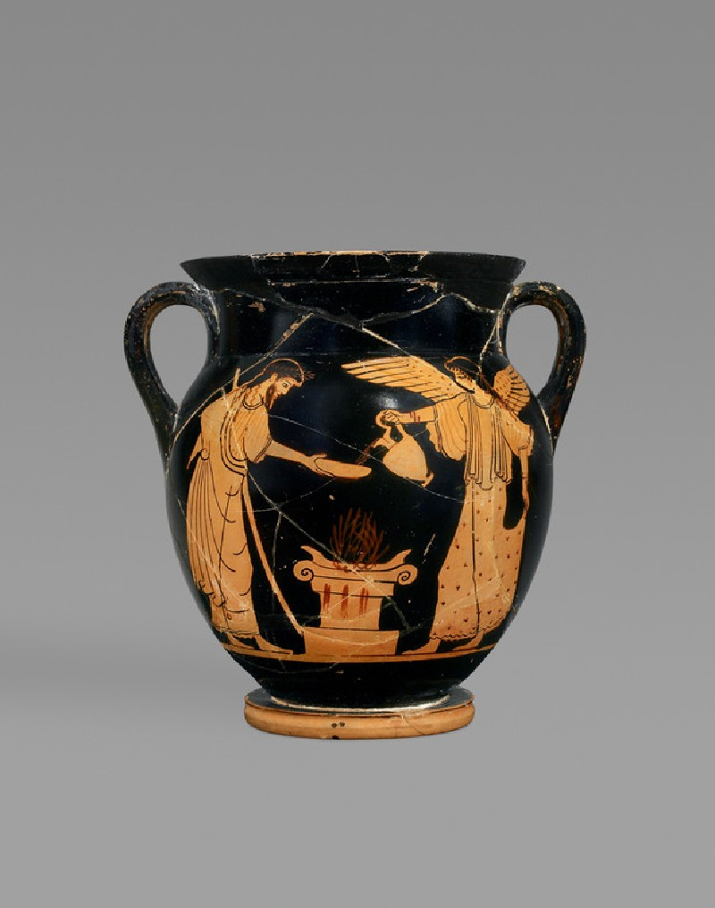 Small Attic red-figure pottery amphora depicting a religious scene (AN1924.3)