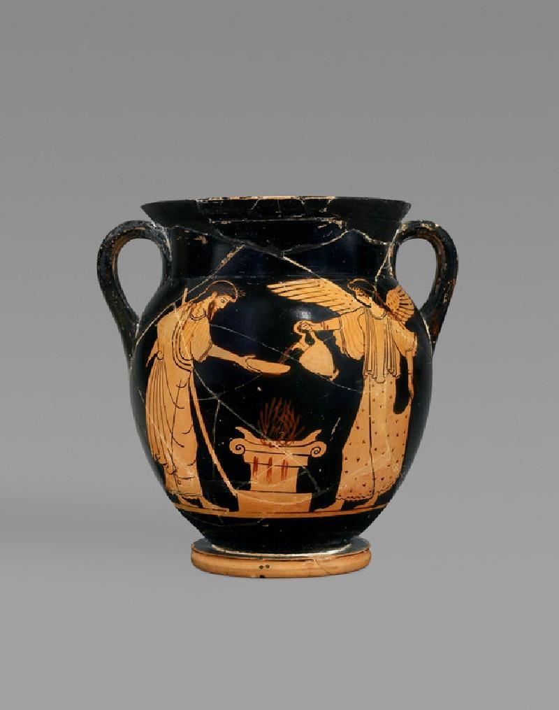 Small Attic red-figure pottery amphora depicting a religious scene