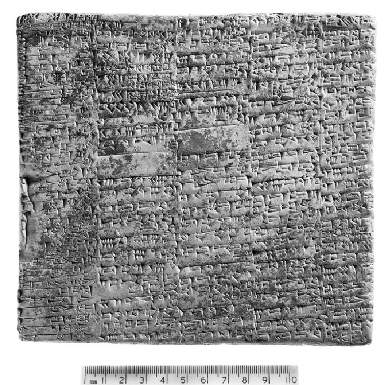 Clay tablet with inscribed cuneiform text, annual labour account