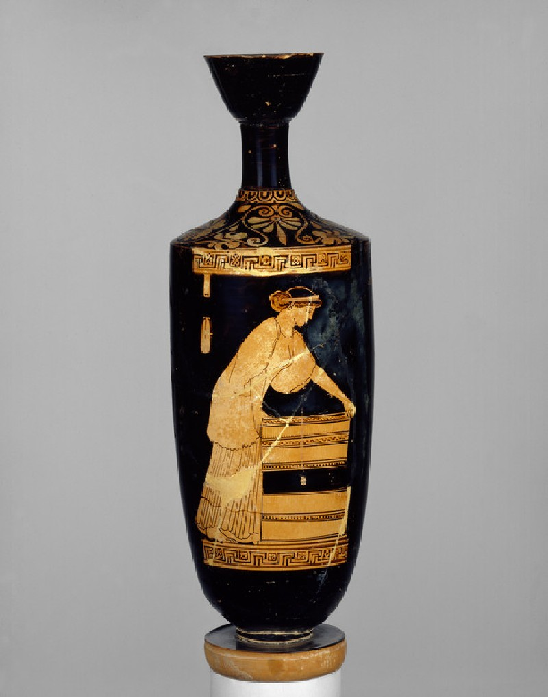 Attic red-figure pottery lekythos depicting a domestic scene (AN1925.68)