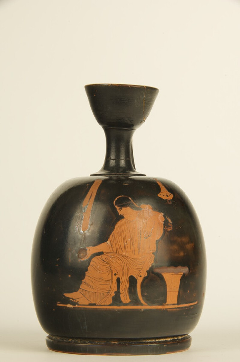 Attic red-figure pottery lekythos depicting a domestic scene (AN1925.69)